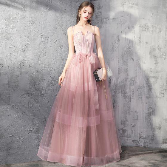 Flotte Perle Pink Selskabskjoler 2019 Prinsesse Spaghetti Straps Ærmeløs Beading Sløjfe Lange Flæse Halterneck Kjoler
