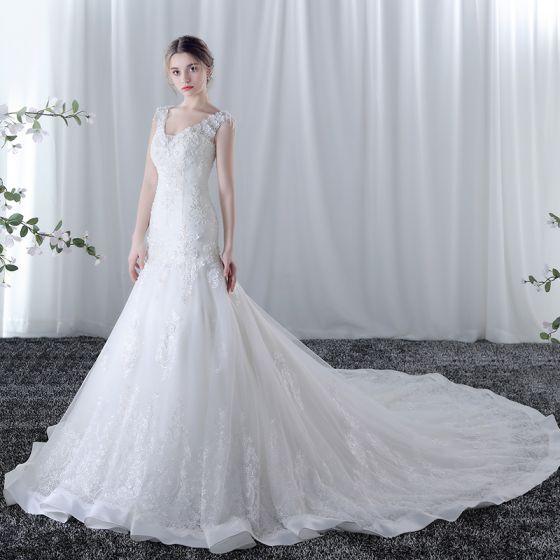 Chic Beautiful Wedding Dresses 2017 White Trumpet Mermaid