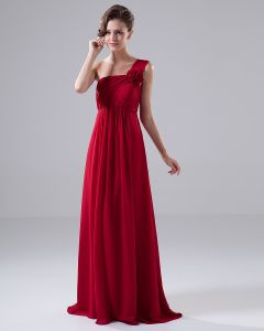 One Shoulder Flower Ruffle Chiffon Floor Length Bridesmaid Dress