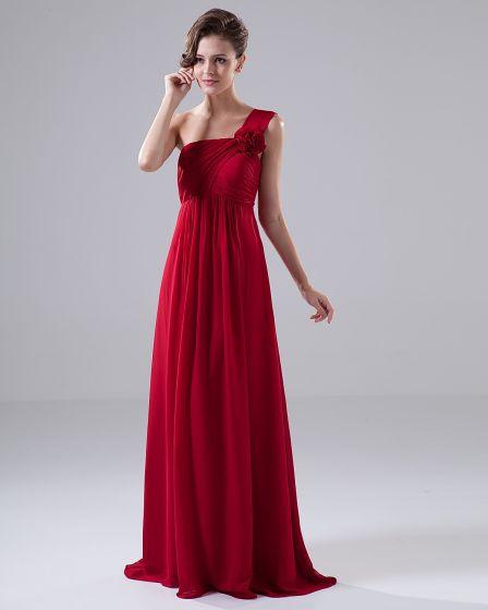 One Shoulder Flower Ruffle Chiffon Floor Length Bridesmaid Dress