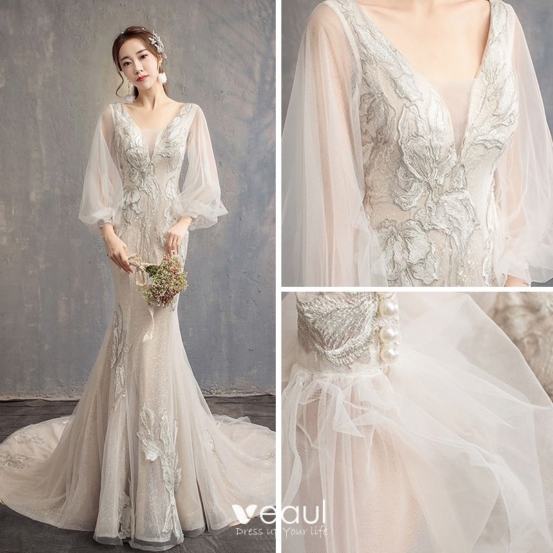 Trumpet Wedding Dresses 2019: Bling Bling Champagne Wedding Dresses 2019 Trumpet
