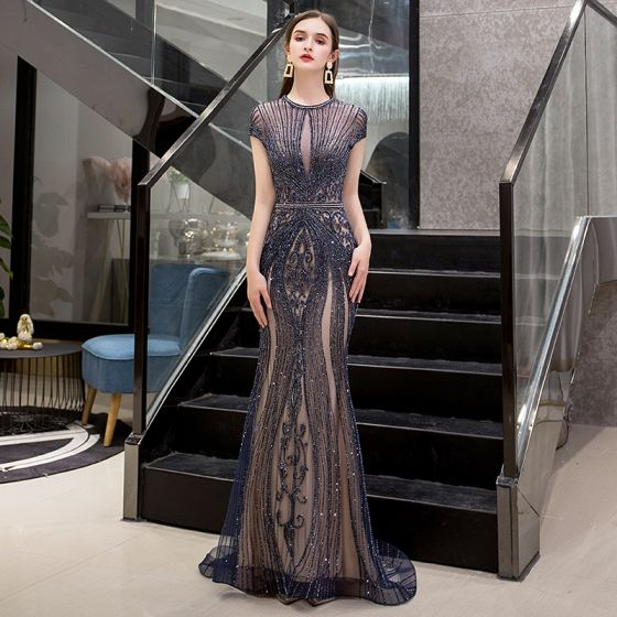 High-end Navy Blue See-through Evening Dresses  2019 Trumpet / Mermaid Scoop Neck Short Sleeve Handmade  Beading Sweep Train Formal Dresses
