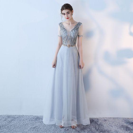 Eleganckie Szary Sukienki Wieczorowe 2019 Princessa V-Szyja Rhinestone Cekiny Kótkie Rękawy Metal Szarfa Bez Pleców Długość Kostki Sukienki Wizytowe