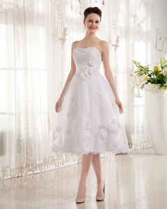 Flowers Applique Tulle Charmeuse Sleeveless Sweetheart Short Wedding Dresses