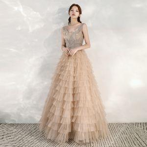 Chic / Beautiful Khaki Evening Dresses  2020 A-Line / Princess See-through Deep V-Neck Sleeveless Beading Floor-Length / Long Cascading Ruffles Backless Formal Dresses