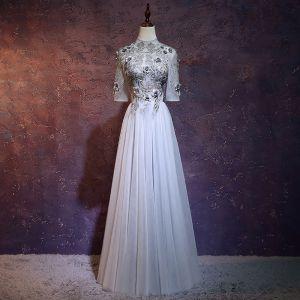 Charmant Gris Robe De Soirée 2018 Princesse Col Haut 1/2 Manches Appliques Fleur Brodé Longue Volants Dos Nu Robe De Ceremonie