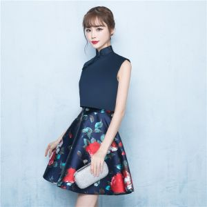 Chinese style 2 Piece Navy Blue Party Dresses 2017 A-Line / Princess High Neck Sleeveless Short Ruffle Printing Formal Dresses