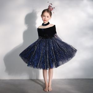 Chic / Beautiful Navy Blue See-through Birthday Flower Girl Dresses 2020 Ball Gown High Neck Puffy 3/4 Sleeve Bow Glitter Sequins Tulle Short Ruffle