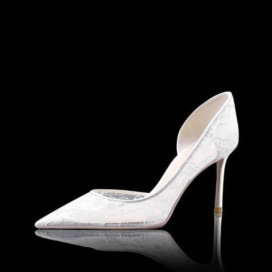 High-end White Bridesmaid Wedding Pumps 2020 Lace 8 cm Stiletto Heels Pointed Toe Wedding Shoes