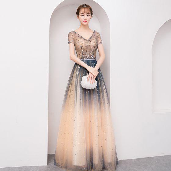 ca1723f8bff Scintillantes Bling Bling Multi-Couleurs Longue Robe De Soirée 2018  Princesse V-Cou Tulle Dos Nu Perlage Paillettes ...