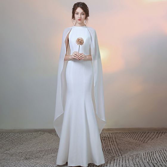 Modest / Simple Solid Color Ivory Evening Dresses  2020 Trumpet / Mermaid Scoop Neck Long Sleeve Floor-Length / Long Formal Dresses