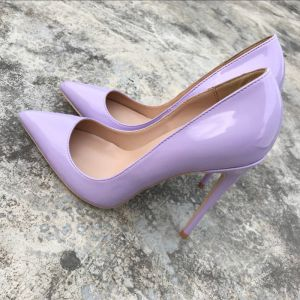 Modest / Simple Lavender Office Pumps 2019 Leather 12 cm Stiletto Heels Pointed Toe Pumps