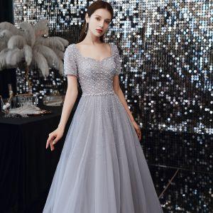 Classique Gris Dansant Robe De Bal 2020 Princesse Encolure Carrée Manches Courtes Paillettes Perlage Longue Volants Dos Nu Robe De Ceremonie