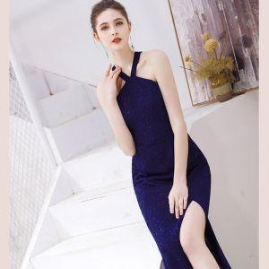 Chic / Beautiful Royal Blue Evening Dresses  2019 Trumpet / Mermaid Halter Sequins Sleeveless Backless Split Front Floor-Length / Long Formal Dresses