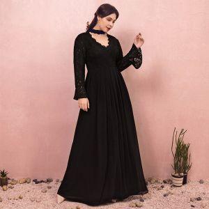 Unique Noire Grande Taille Robe De Soirée 2018 Princesse Manches Longues Tulle V-Cou Lacer Dos Nu Soirée Robe De Bal