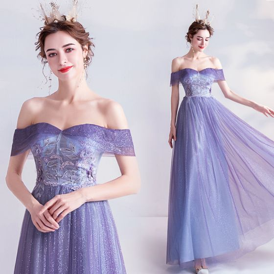 Charming Lavender Prom Dresses 2020 A-Line / Princess Glitter Tulle Off-The-Shoulder Pearl Rhinestone Lace Flower Short Sleeve Backless Floor-Length / Long Formal Dresses