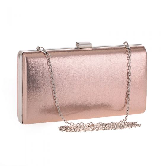 Chic / Beautiful Champagne Patent Leather Metal Clutch Bags 2018