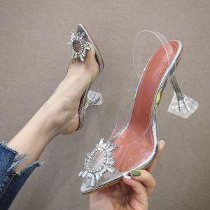 Sexy Argenté Désinvolte Chaussures Femmes 2020 Faux Diamant 9 cm Talons Aiguilles À Bout Pointu Talons Hauts
