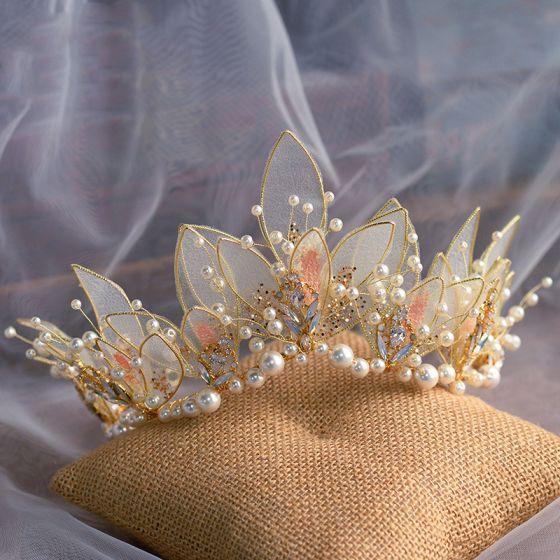 Hada de las flores Oro mariposa Tocados de novia 2020 Aleación Perla Rhinestone Tiara Boda Accesorios