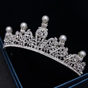 Modest / Simple Silver Tiara 2018 Metal Pearl Rhinestone Wedding Accessories
