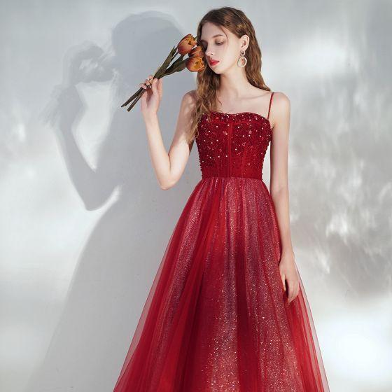 Eleganta Burgundy Aftonklänningar 2020 Prinsessa Spaghettiband Ärmlös Paljetter Beading Glittriga / Glitter Tyll Långa Ruffle Halterneck Formella Klänningar