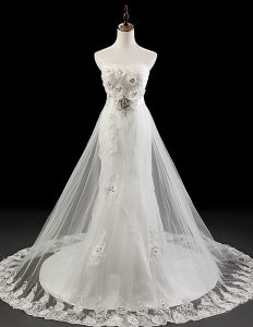 2015 Hand Made Flower Sash Crystal Lace Wedding Dress Bridal Gown