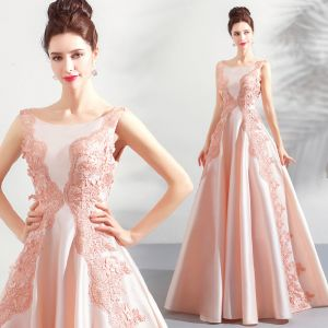 Modern / Fashion Pearl Pink Prom Dresses 2018 A-Line / Princess Lace Flower Appliques Pearl Scoop Neck Backless Sleeveless Floor-Length / Long Formal Dresses