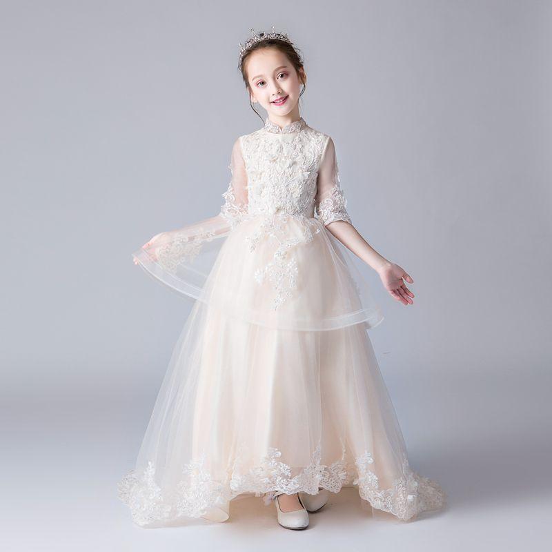 Chiński Styl Szampan Sukienki Dla Dziewczynek 2019 Princessa Wysokiej Szyi 1/2 Rękawy Aplikacje Z Koronki Frezowanie Trenem Sweep Wzburzyć Sukienki Na Wesele