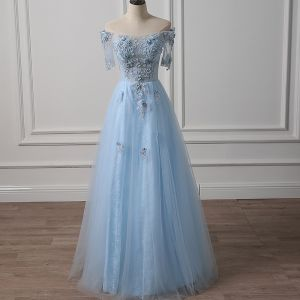 Illusion Sky Blue See-through Evening Dresses  2018 A-Line / Princess Off-The-Shoulder Short Sleeve Appliques Lace Beading Floor-Length / Long Ruffle Backless Formal Dresses