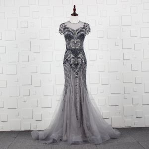 High-end Grey See-through Evening Dresses  2020 A-Line / Princess Scoop Neck Short Sleeve Handmade  Beading Sweep Train Ruffle Formal Dresses