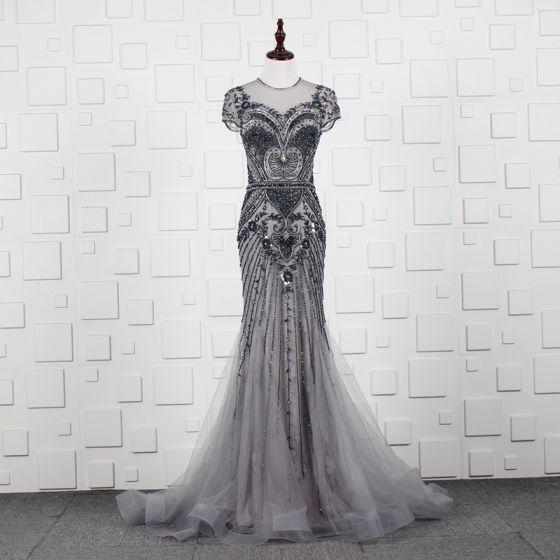 High-end Grey See-through Evening Dresses  2020 A-Line / Princess Scoop Neck Short Sleeve Handmade  Beading Sweep Train Ruffle Formal Dresses