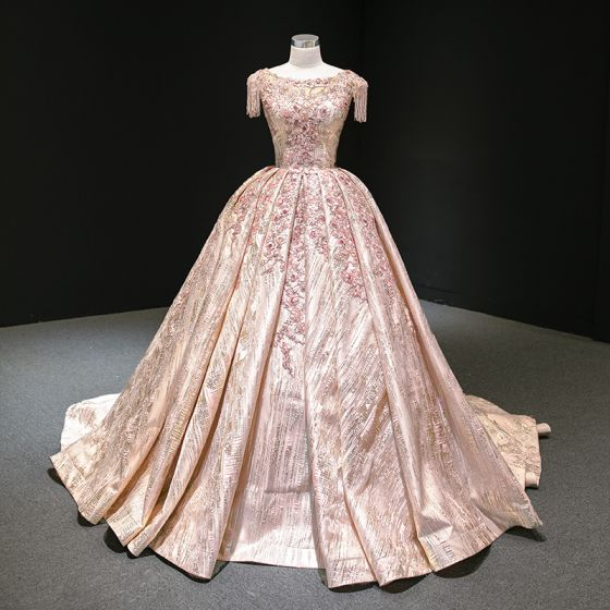 Luxury / Gorgeous Rose Gold Prom Dresses 2020 Ball Gown Scoop Neck Sleeveless Appliques Flower Sequins Beading Tassel Court Train Ruffle Backless Formal Dresses