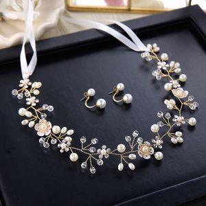 Elegante Ivory / Creme Stirnbänder 2020 Metall Schnüren Strass Perle Kopfschmuck Ohrringe Hochzeit Haarschmuck Braut