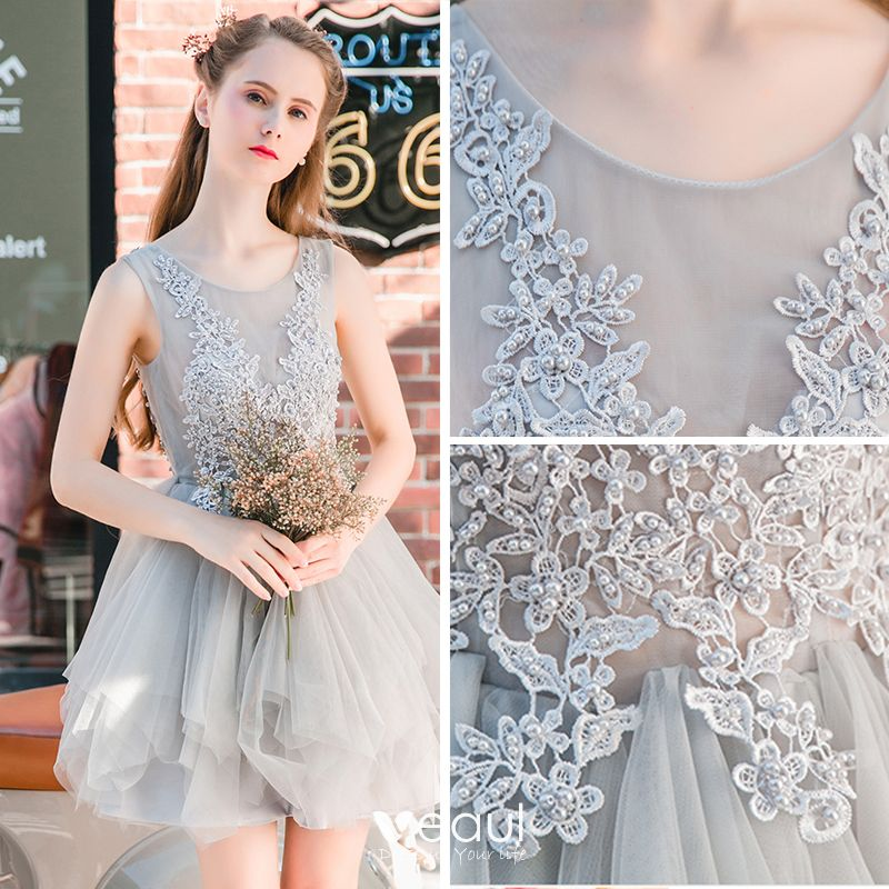 Chic / Beautiful Grey Graduation Dresses 2017 Lace Flower Scoop Neck Sleeveless Short A-Line / Princess Formal Dresses