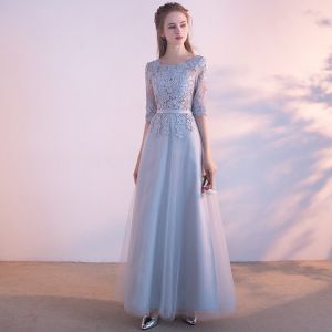 Affordable Chic / Beautiful Evening Party Graduation Dresses Evening Dresses  2017 Lace Appliques Sash 1/2 Sleeves Scoop Neck Ankle Length Silver A-Line / Princess