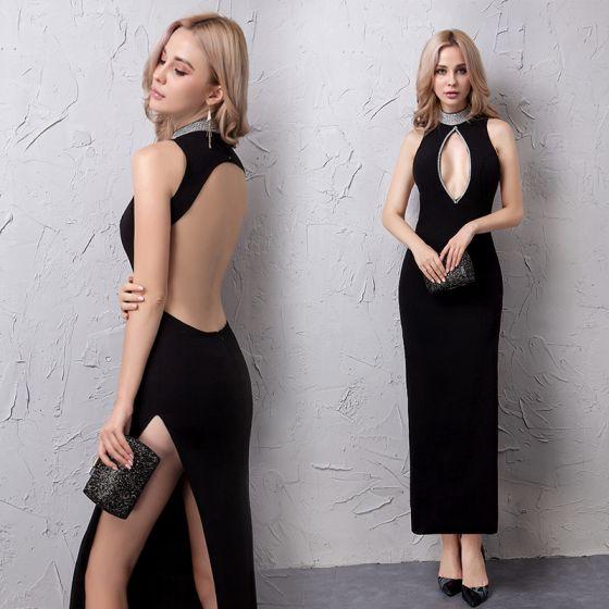 Sexy Schwarz Abendkleider 2019 Strass Gespaltete Front Stehkragen Ärmellos Rückenfreies Knöchellänge Festliche Kleider