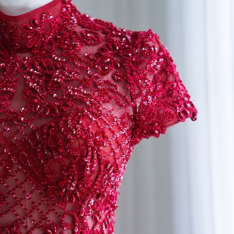 Chic / Beautiful Burgundy Prom Dresses 2018 A-Line / Princess Handmade  Beading Sequins Lace Flower High Neck Short Sleeve Backless Ankle Length Formal Dresses