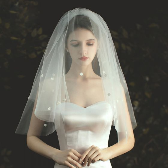 Chic / Beautiful White Short Wedding Veils 2020 Tulle Appliques Wedding