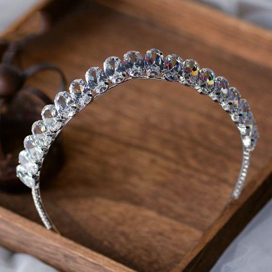 Enkla Silver Rhinestone Tiara Brud Huvudbonad 2020 Legering Bröllop Tillbehör