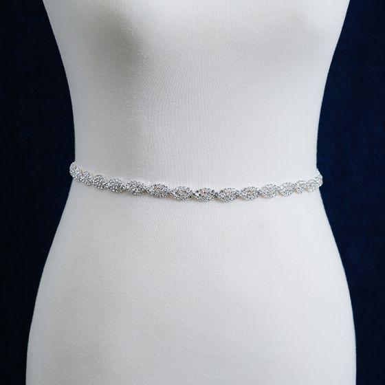 Klassisk Elegant Hvit Bryllup Bånd 2020 Metall Satin Håndlaget Beading Rhinestone Aften Ball Tilbehør