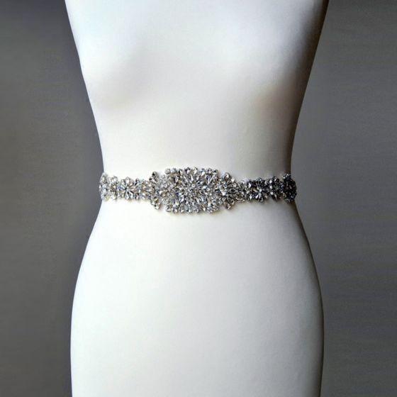 Classy Fabulous Ivory Prom Sash 2020 Satin Metal Beading Crystal Rhinestone Bridal Wedding Evening Party Accessories