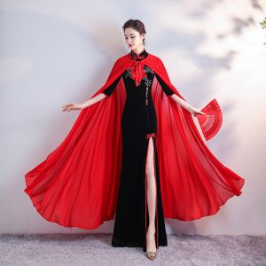 Chinese style Black Velour Cheongsam / Qipao With Shawl 2020 Trumpet / Mermaid High Neck 1/2 Sleeves Embroidered Flower Rhinestone Split Front Floor-Length / Long Formal Dresses
