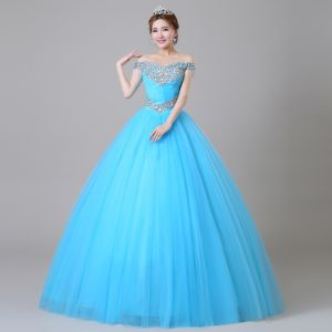 Traditional Pool Blue Prom Dresses 2019 Ball Gown Off-The-Shoulder Crystal Pearl Rhinestone Sequins Short Sleeve Backless Floor-Length / Long Formal Dresses