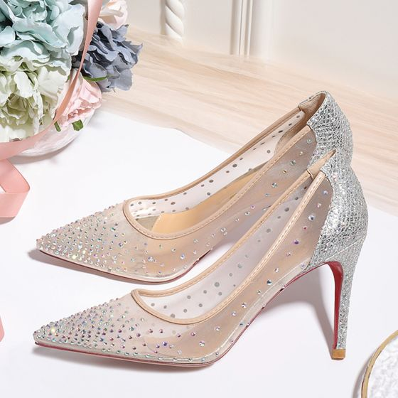 Charming Nude Rhinestone Wedding Shoes 2020 Sequins 10 cm Stiletto Heels Pointed Toe Wedding Pumps