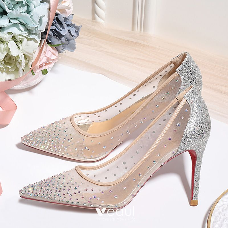 Charming Nude Rhinestone Wedding Shoes
