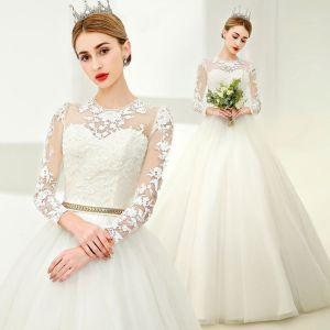 Elegante Weiß Ballkleid Brautkleider 2017 Rundhalsausschnitt Lange Ärmel Applikationen Mit Spitze Perlenstickerei Perle Metall Stoffgürtel Lange