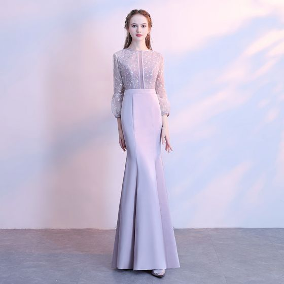 Chic / Beautiful Silver Evening Dresses  2017 Trumpet / Mermaid Lace Scoop Neck 3/4 Sleeve Floor-Length / Long Formal Dresses