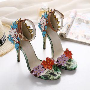 Blomsterfe Multi-Farger Ball Sandaler Dame 2020 Ankelstropp Blomst 11 cm Stiletthæler Peep Toe Sandaler