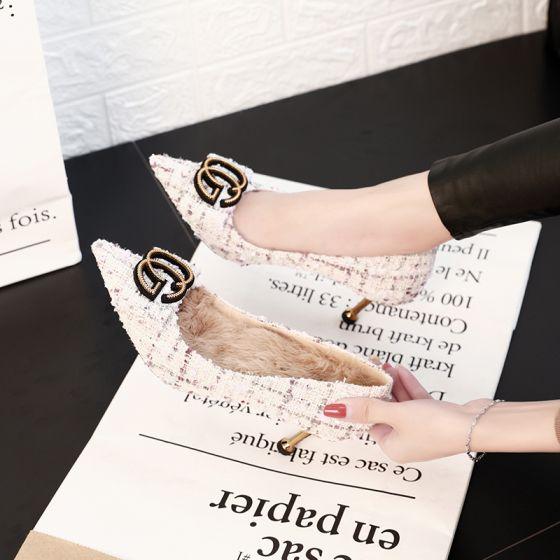 Stylowe / Modne Białe Randki Czółenka 2019 Metal 6 cm Szpilki Szpiczaste Czółenka
