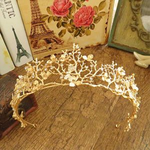 Modest / Simple Gold Rhinestone Metal Tiara 2017 Bridal Jewelry